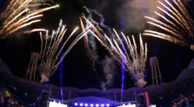 GRAZ,AUSTRIA,24.MAR.17 - SPECIAL OLYMPICS - World Winter Games, closing ceremony. Image shows the fireworks. Photo: GEPA pictures/ Walter Luger